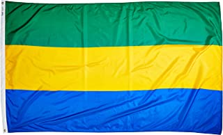 product image for Annin Flagmakers Model 192762 Gabon Flag Nylon SolarGuard NYL-Glo, 5x8 ft, 100% Made in USA to Official United Nations Design Specifications