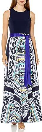 Eliza J Women's Scarf Print Combo Maxi Dress