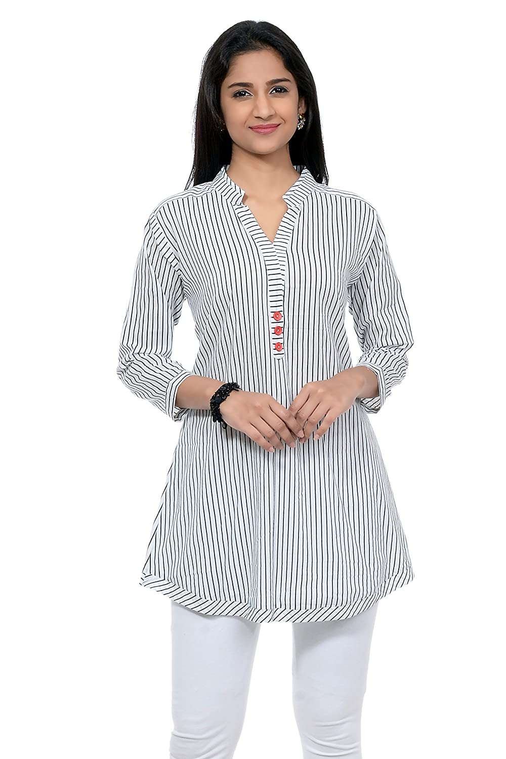 2e9ccf1db7803 Aarnaa Womens 3 4 Sleeve   Mandarin Collar Cotton Kurti (White and Blue