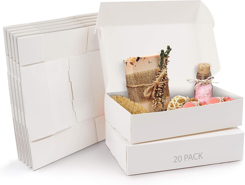 Kurtzy Cajas de Cartón Kraft Blancas (Pack de 20) – Medidas de las Cajas 19 x 11 x 4,5 cm - Caja Kraft Fácil Ensamblado Cuadrada Presentación - Cajas Blancas para Fiestas, Cumpleaños, Bodas