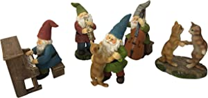 Happy Miniature Gnomes and Cats Dancing Celebration! - 6-Piece Musical Garden Gnome Set for The Miniature Fairy Garden by GlitZGlam