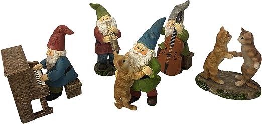 GlitZGlam Happy Miniature Gnomos y Gnomos Dancing Celebration! - Juego de 6 piezas de gnomos de jardín musical para el jardín de hadas en miniatura: Amazon.es: Hogar
