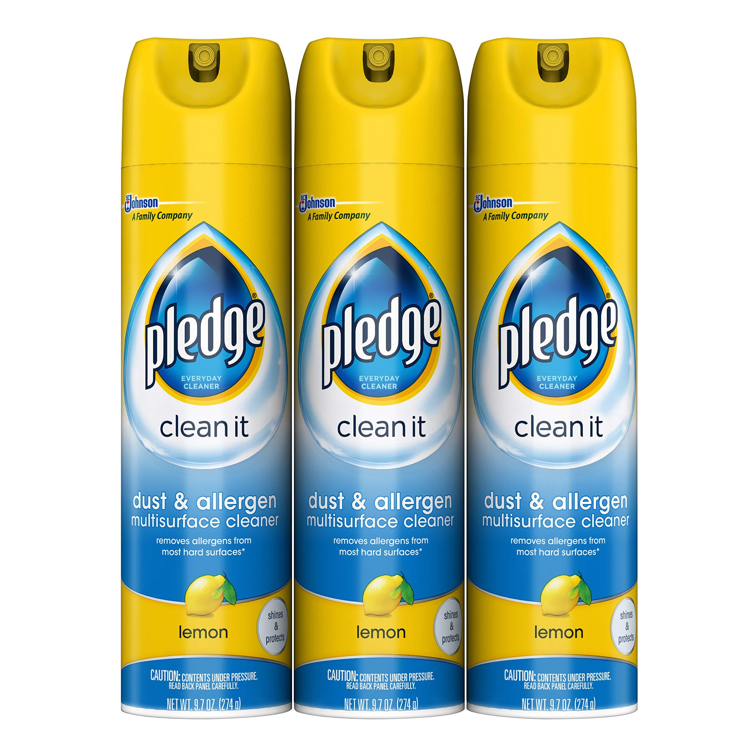 Pledge Dust & Allergen Multisurface Cleaner, Lemon, 9.7 oz, ...