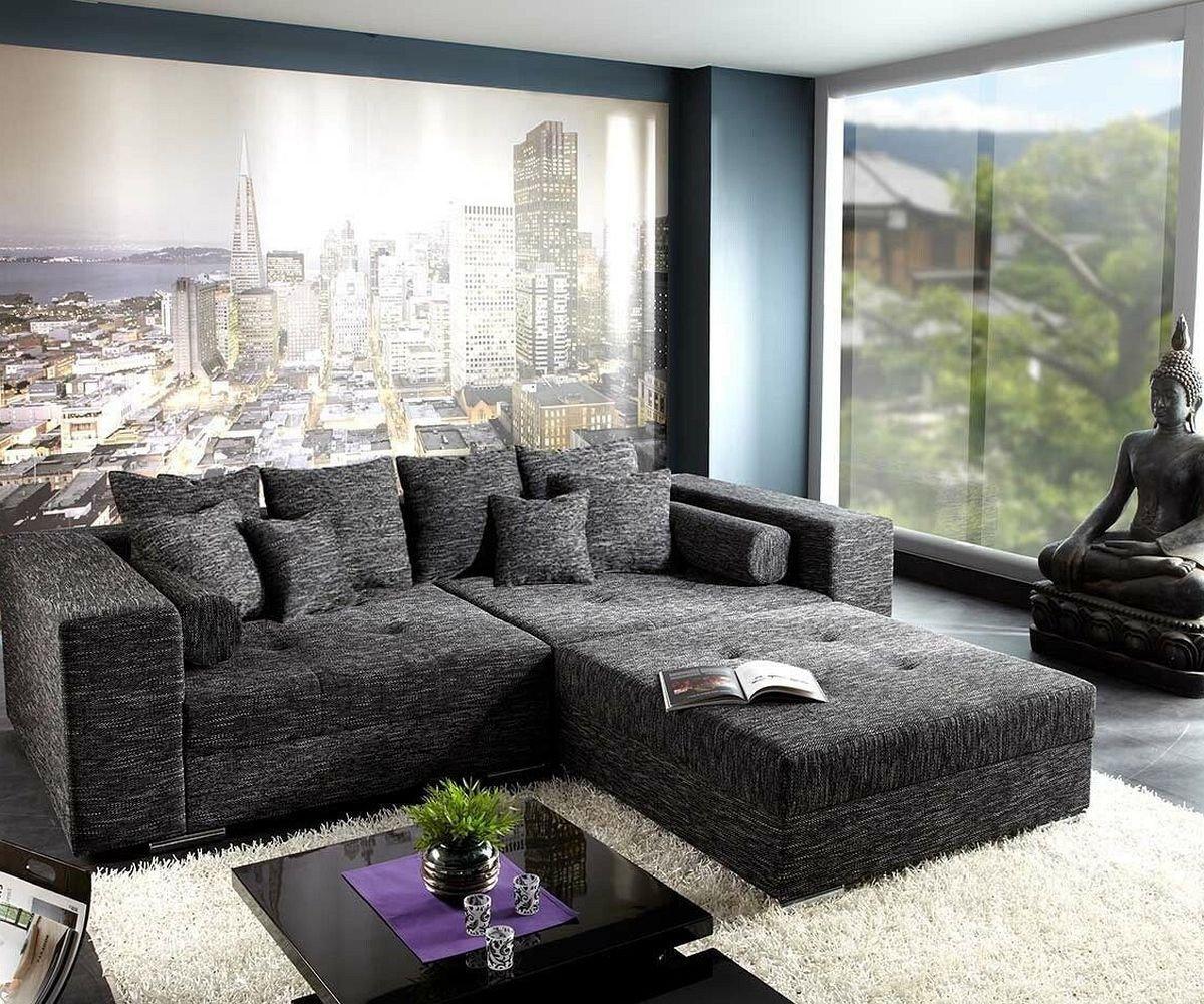 XXL-Sofa Marlen Schwarz 300x140 cm inklusive Hocker Big Sofa