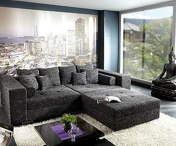 Xxl Sofa Marlen Schwarz 300x140 Cm Inklusive Hocker Big Sofa