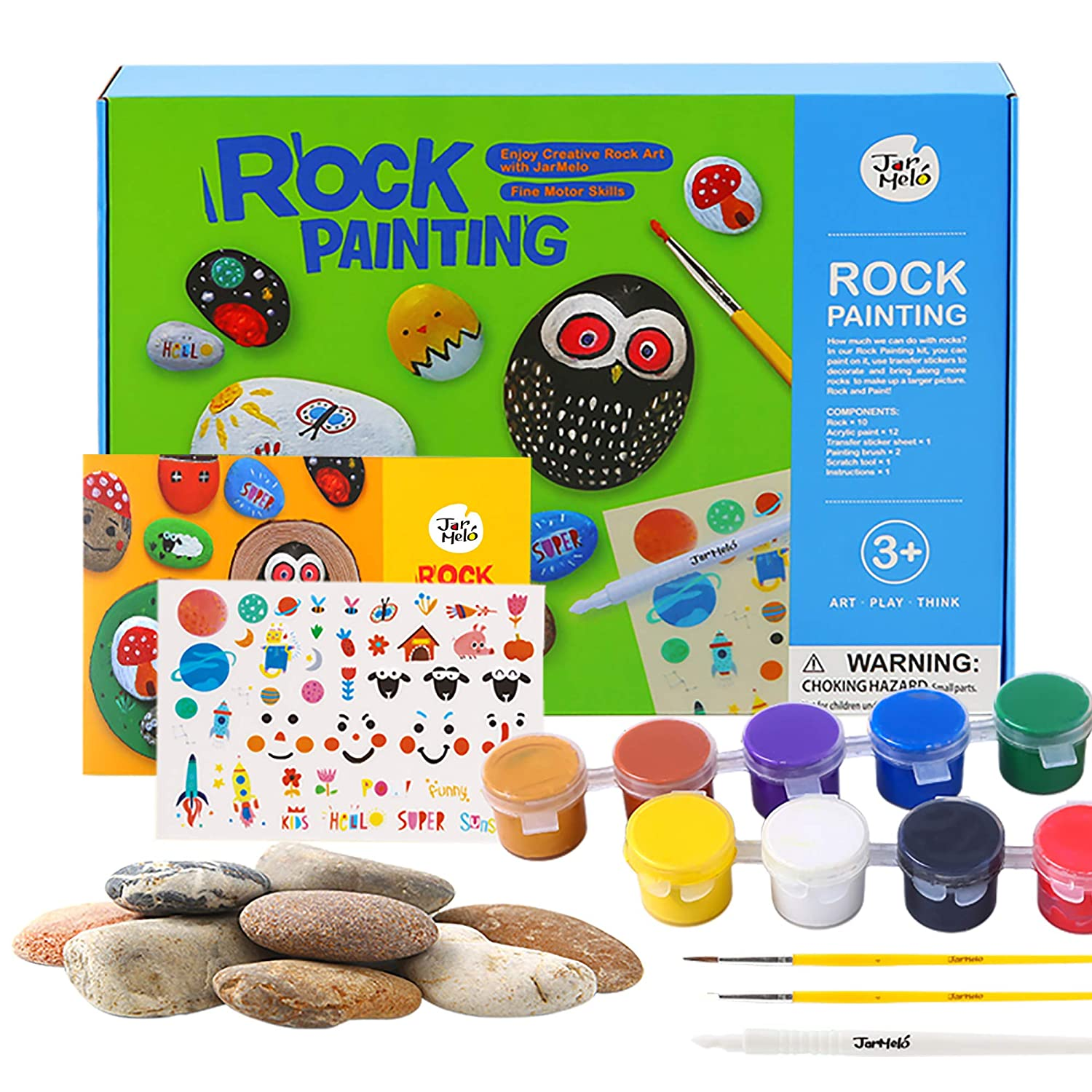 Jar Melo Rock Painting Kit; Non-Toxic; Rock Art; Creative Colorful Magic Stone; Creative Arts and Crafts Kits for Adults and Kids