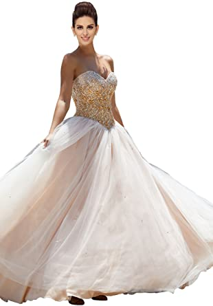 b7e19dffdf3 Fannydress Luxury Gold Crystal Beading Sequins Quinceanera Dresses 2019  Sweetheart Open Back Lace-up Prom Dress at Amazon Women s Clothing store