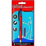 Berol S0953460 - Pluma estilográfica con 2 cartuchos de tinta azul, color rojo