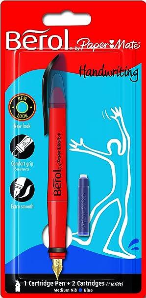 berol handwriting fountain pen with medium nib blue amazon co uk