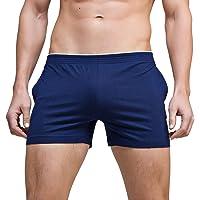 KAMUON Men's Cotton Pocket Running Gym Workout Active Bodybuilding Lounge Shorts
