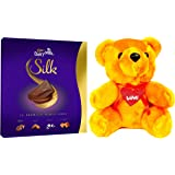 Cadbury - Valentine Gift Combo with Dairy Milk Silk Miniatures Chocolate Gift Box, 200g & A Beautiful Teddy
