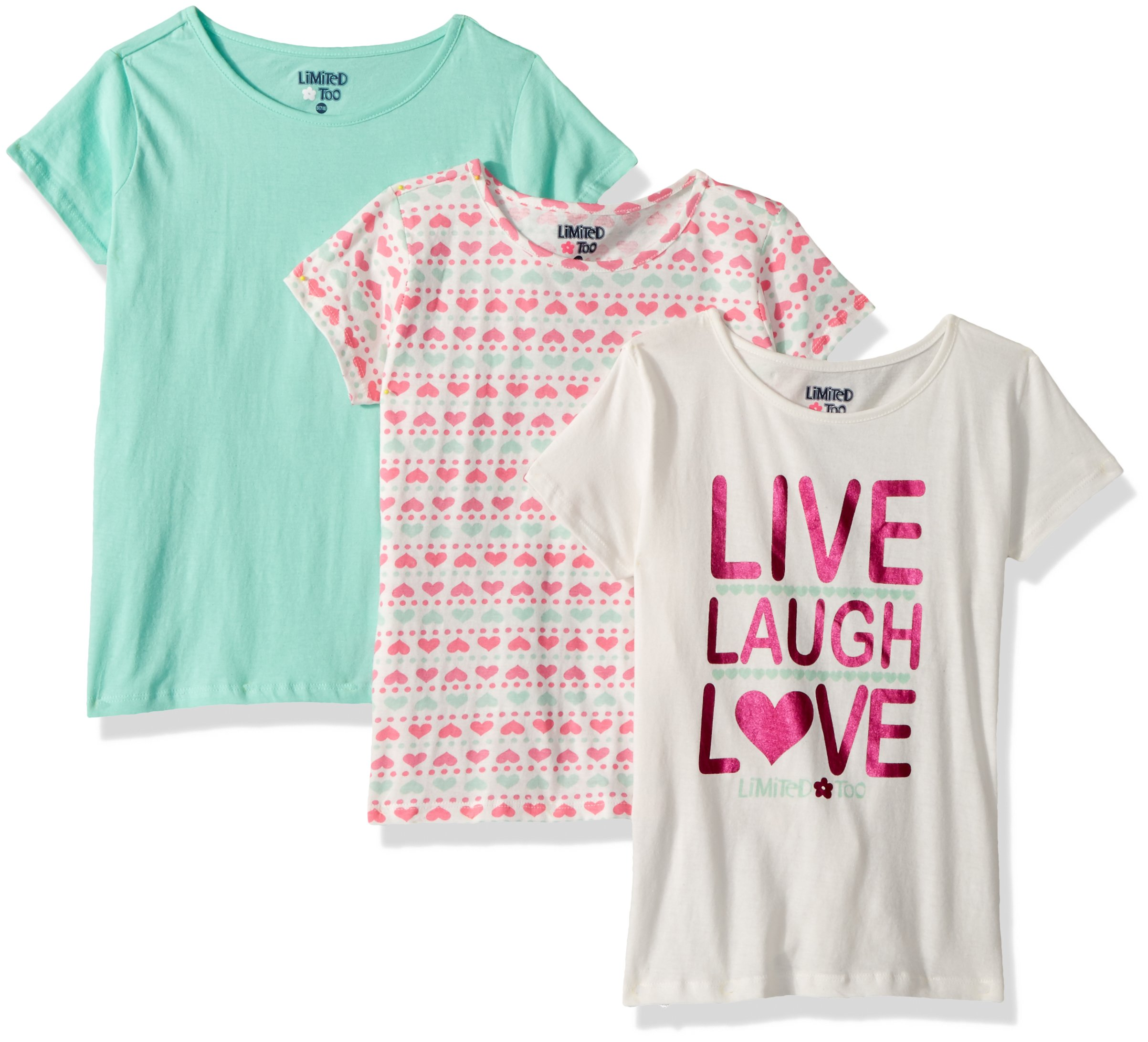 Limited Too Big Girls' 3 Pack T-Shirt, Print Live Laugh Love Hearts Solid Multi Print, 7/8