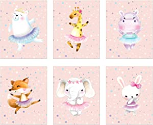 Ballerina Animal Nursery Prints - Set of 6 (8 inches x 10 inches) Adorable Baby Wall Art Decor