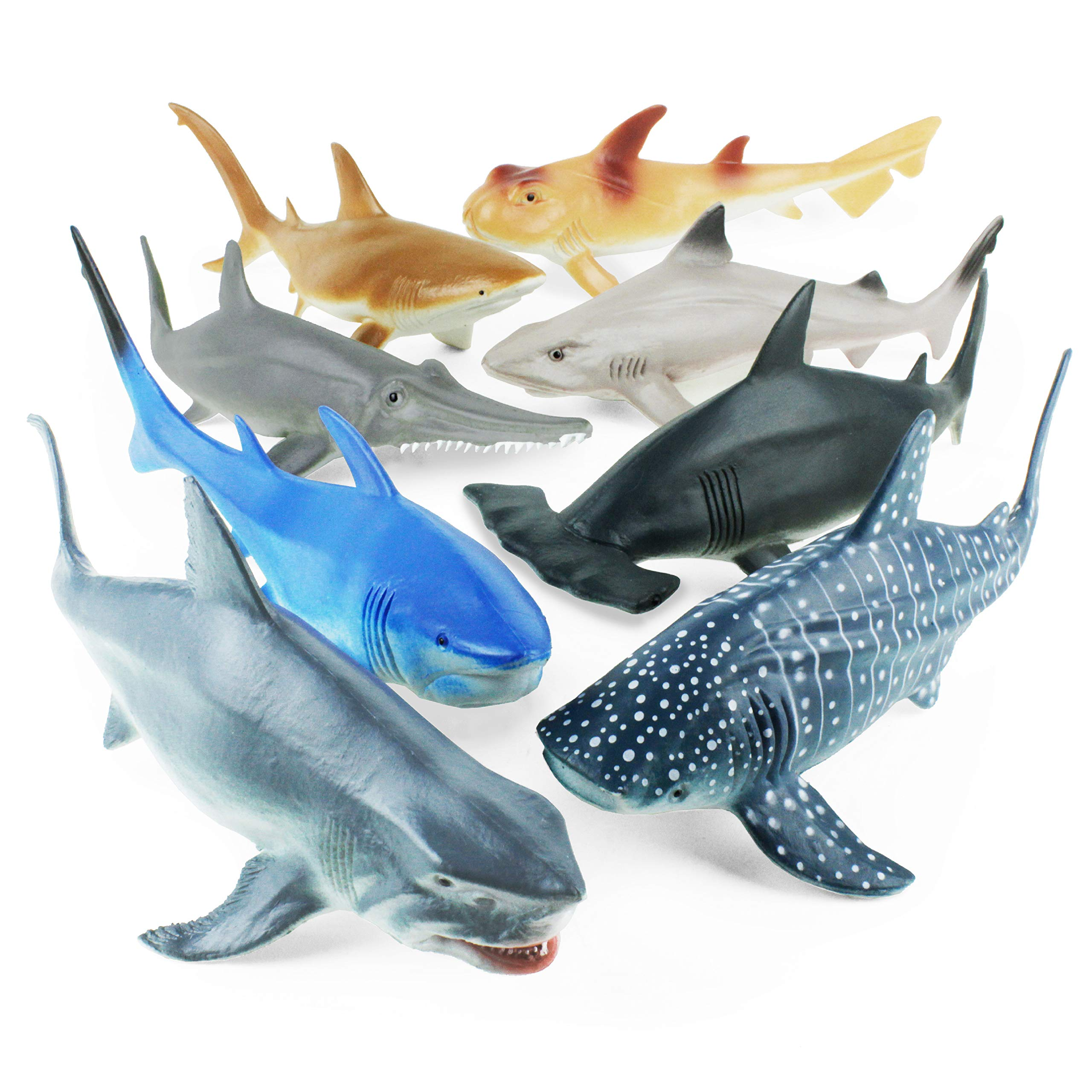 Boley 8 Piece Shark Figure Toys - Realistic Looking Ocean Shark Figures - Sea Creatures Great for Party Favors, Bath Time Fun, and More!