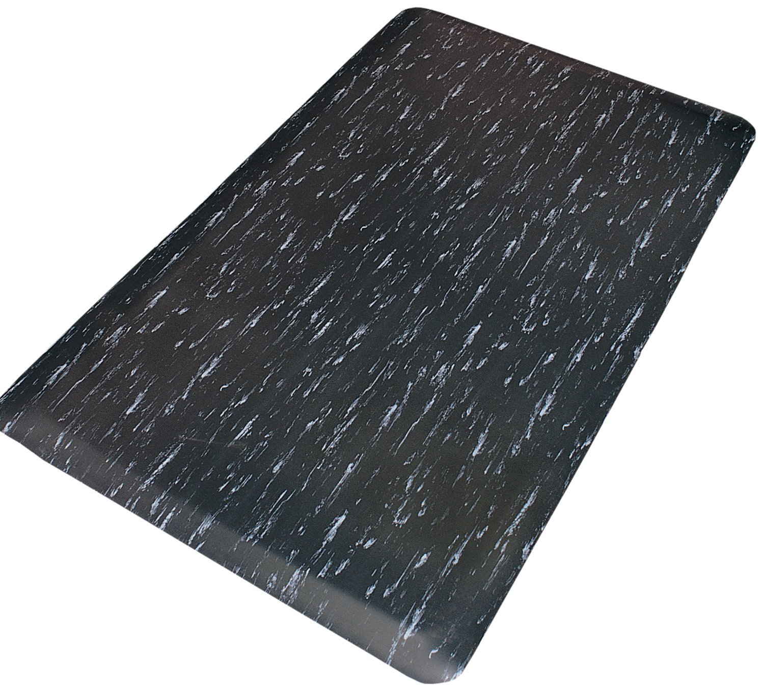 Rhino Mats TT-1848DSBW Marbleized Tile Top Anti-Fatigue Mat, 18'' Width x 48'' Length x 7/8'' Thickness, Black/White