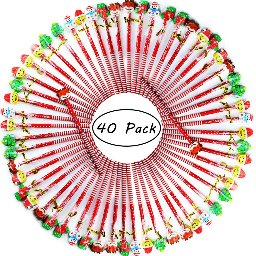 Etmact 40 Pack Assorted Colorful Holiday Christmas Pencil With Eraser Novelty Dot & Stripe Giant Eraser Topper Kids Pencils Kids Pencils Pencils For Kids Pencil Pack Pencils Bulk Giant Pencil by Etmact