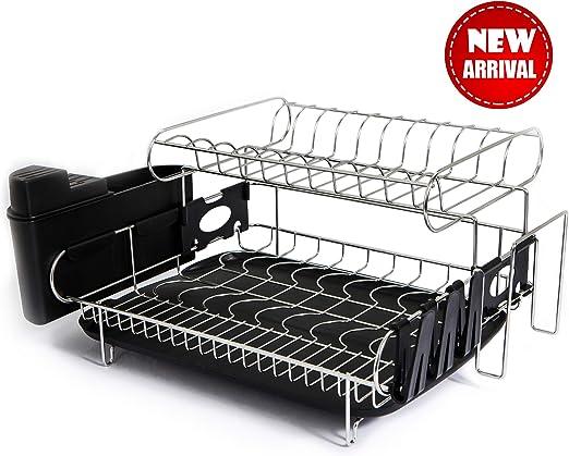 Amazon Com Tahlegy Large 2 Tier Dish Drying Rack Countertop Dish