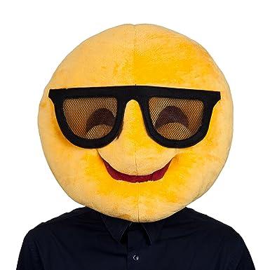 adults cool emoticon emoji smiley face sunglasses funny head mask accessory