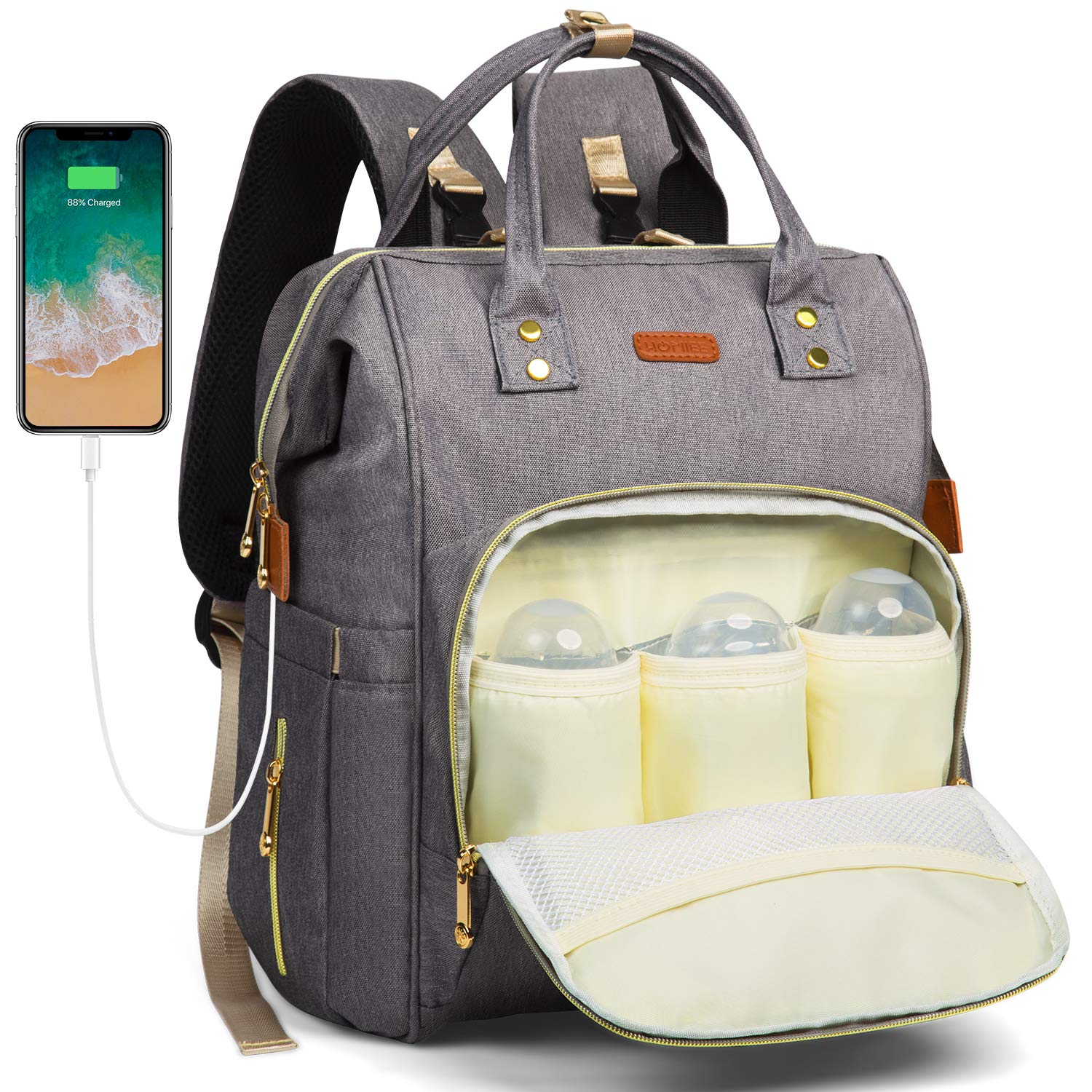Diaper Backpack Bag, HOMIEE Nappy Changing Backpack Large Capacity Multi-Function Waterproof Mummy Daddy Tote Bag with 3 Bottle Insulated Pocket & USB Charging Port for Baby Care, Gray DB1001G