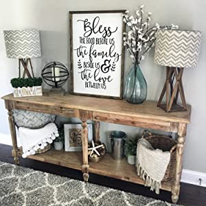 None Brand Bless The Food Before Us Wood Sign Rustic Wood Sign Framed Sign Kitchen Sign Dining Room Sign Farmhouse Decor Kitchen Decor