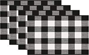 Syntus Cotton Placemat, Buffalo Check Placemats Black and White Plaid Table Mats for Kitchen Dinning Table Home Christmas Decoration, Set of 4