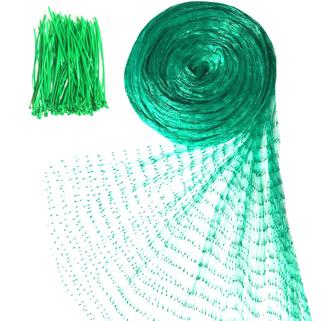 Senneny Bird Netting, 33Ft x 13Ft Anti-Bird Netting 100 Pcs Nylon Cable Ties, Green Garden Netting Protecting Plants Fruit Trees from Rodents Birds Deer