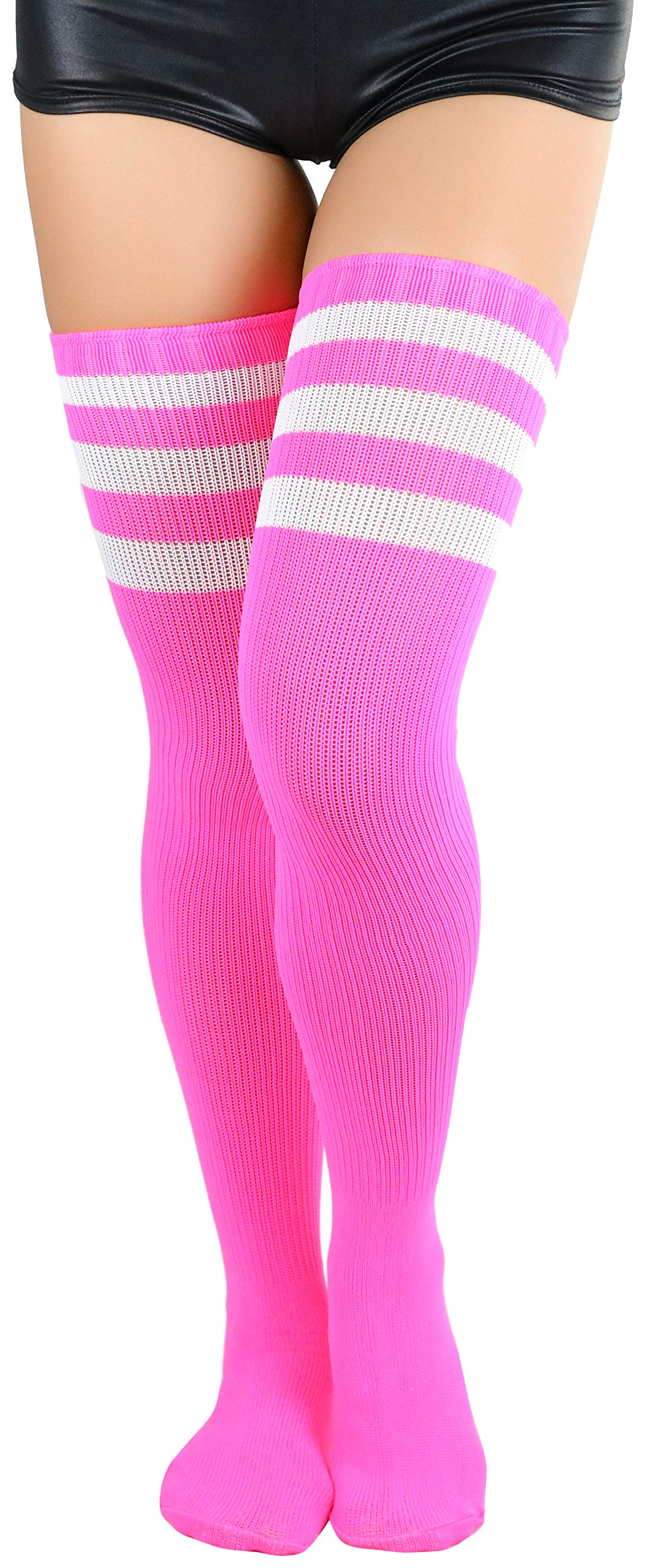ToBeInStyle Women's Thigh Highs With Three Stripe Top - Neon Pink - OS