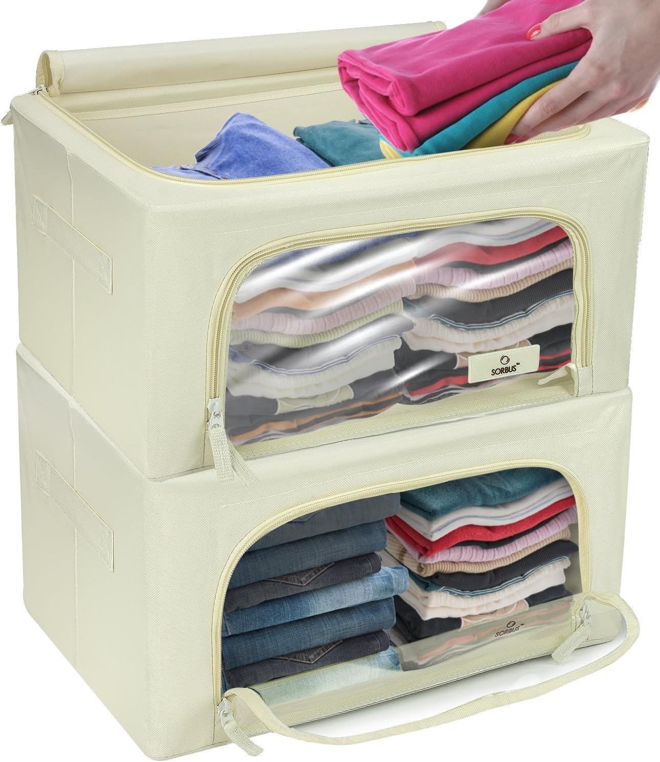 Big Capacity Foldable Storage Box Wardrobe Clothes Toys Portable Home Navy Blue