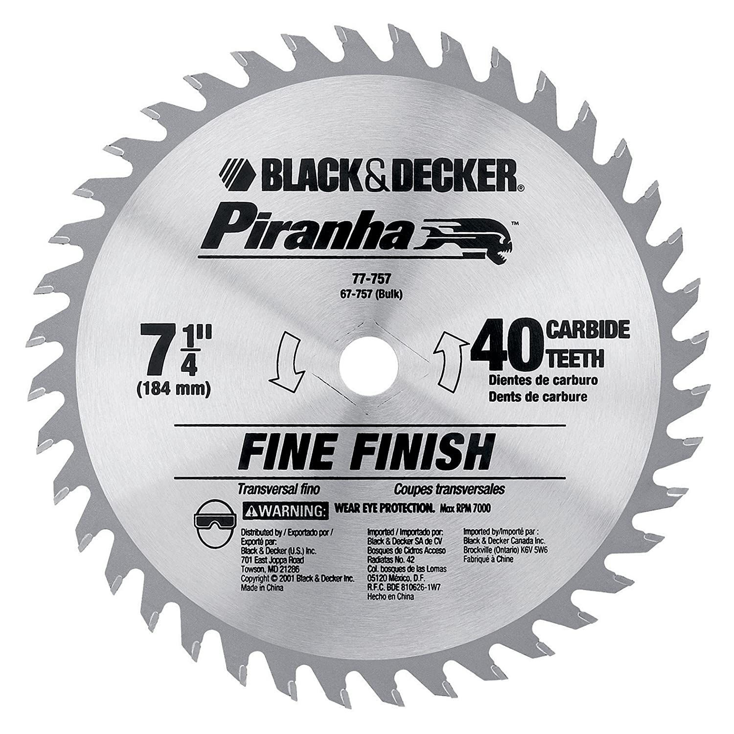 Black decker 67 757 7 14 inch 40 tooth bulk piranha saw blade black decker 67 757 7 14 inch 40 tooth bulk piranha saw blade circular saw blades amazon greentooth Choice Image