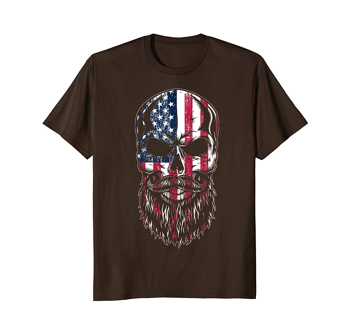 American Beard Skull Men's T-shirt Gift-mt