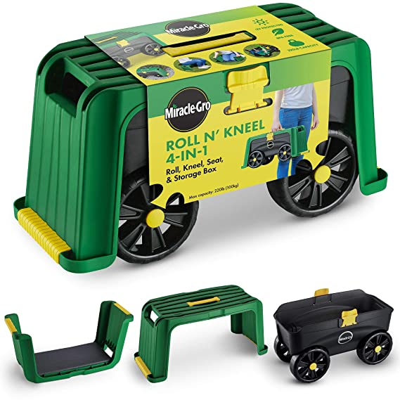 Miracle-Gro 4-in-1 Garden Stool – Multi-Use Garden Scooter with Seat – Rolling Cart with Storage Bin – Padded Kneeler and Tool storage - Accessible ...