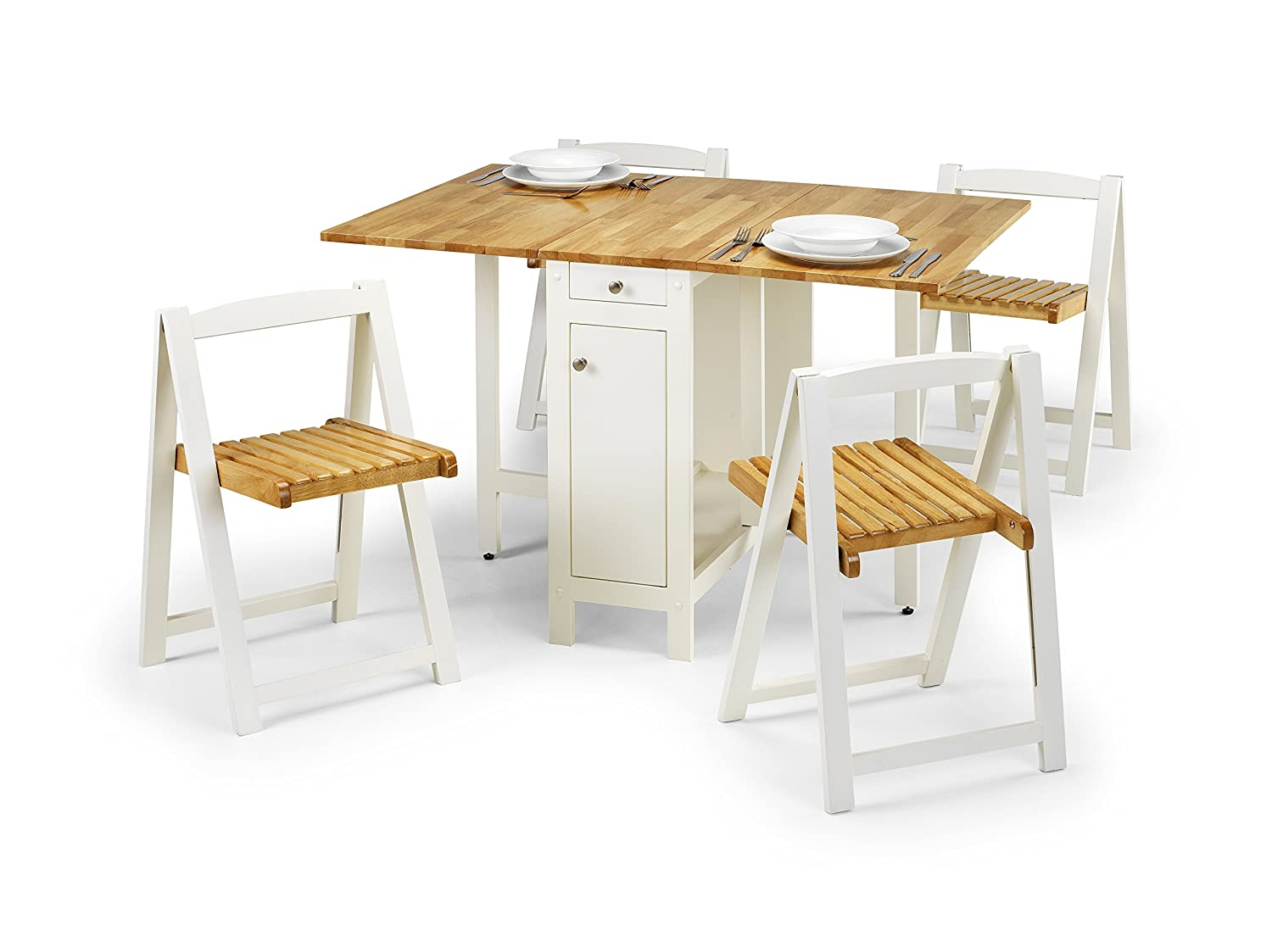 Julian Bowen Savoy Compact Dining Set - White/Natural Lacquered ...