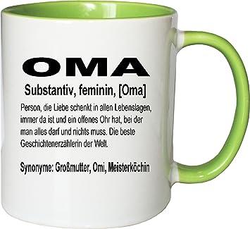 Definition Weihnachten.Mister Merchandise Kaffeebecher Tasse Oma Definition Geburt Weihnachten Teetasse Becher Weiß Grün