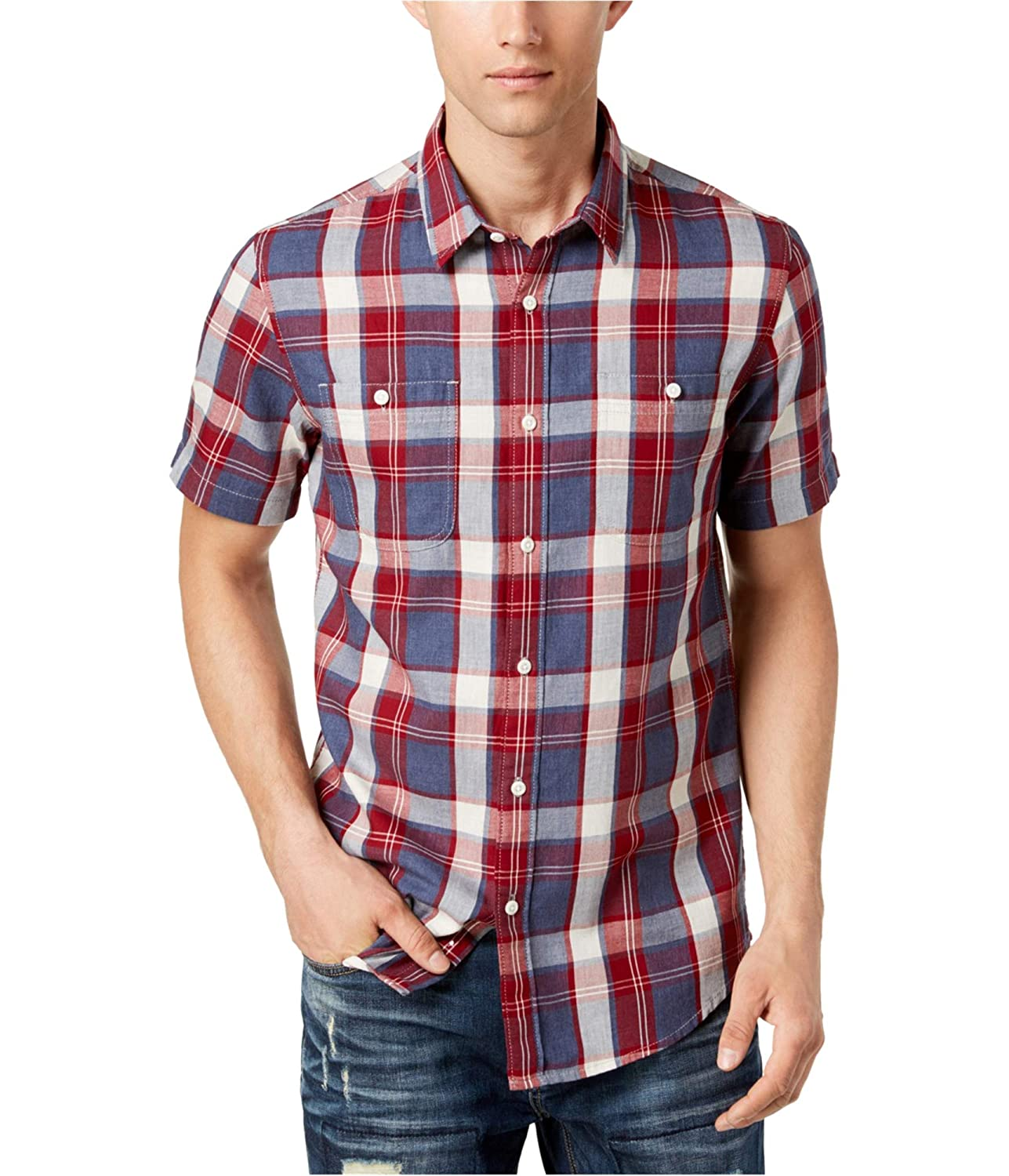 American Rag Red Mens Button Down Taylor Plaid Shirt