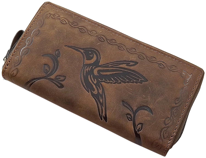 Große Büffel-Vollleder Damen Geldbörse mit Colibri-Motiv Außen Reißverschluss Rundherum in Braun oder Cognac (Cognac)