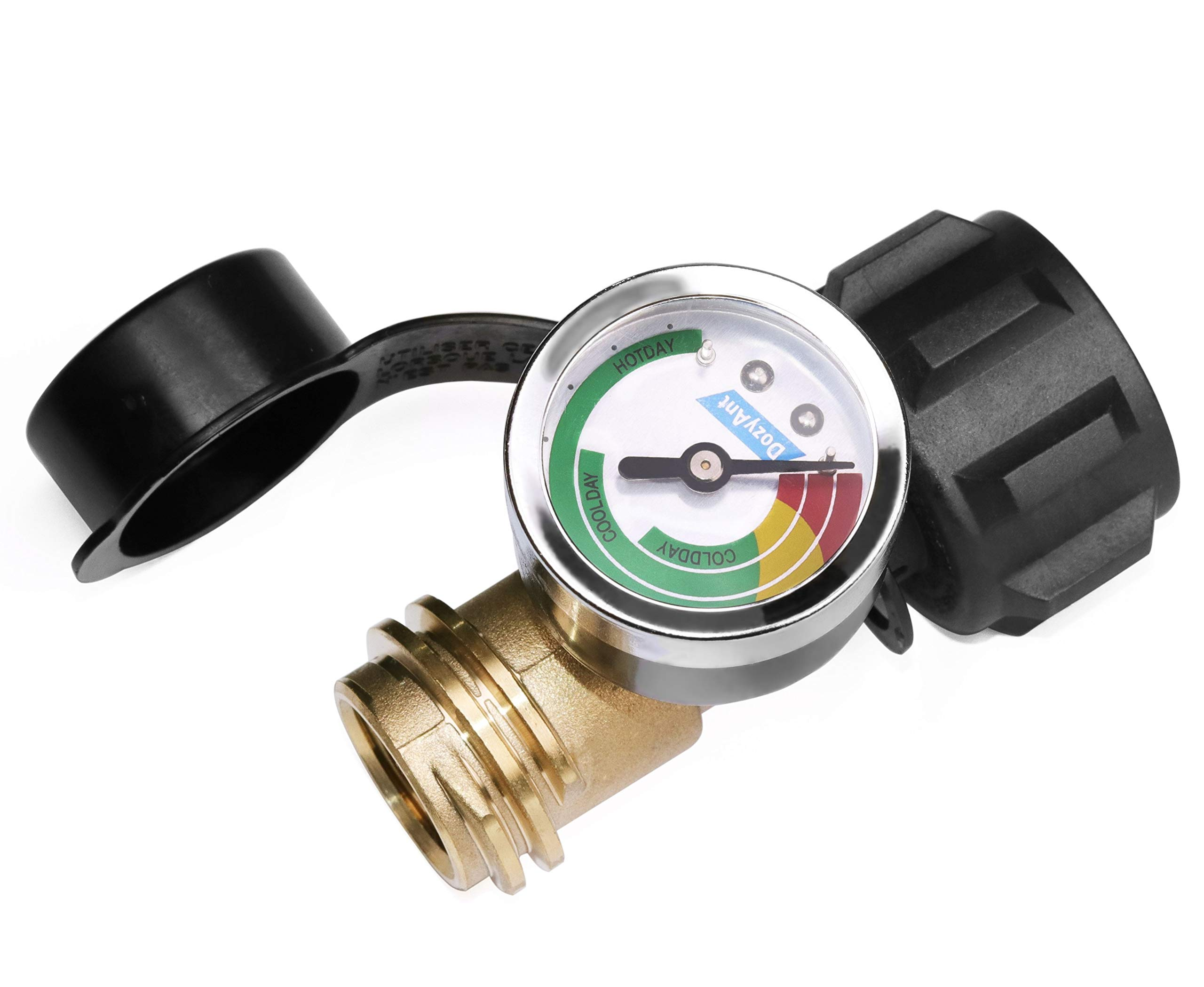 DOZYANT Propane Tank Gauge Level Indicator Leak Detector Pressure Meter Color Coded Universal for Cylinder, BBQ Gas Grill, RV Camper, Heater and More Appliances-Type 1 Connection