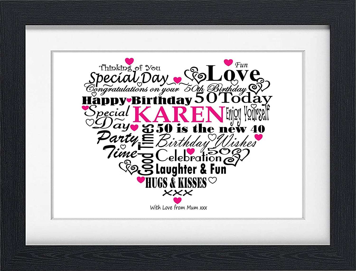 50TH BIRTHDAY GIFT PRESENT PERSONALISED WORD ART PRINT TYPOGRAPHY (Unframed)