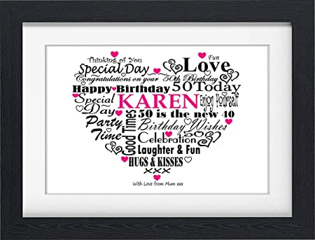 50TH BIRTHDAY GIFT PRESENT PERSONALISED WORD ART PRINT TYPOGRAPHY ...