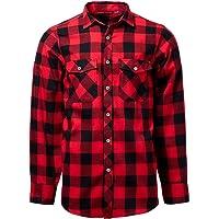 J.VER Camisas Casual para Hombre Franela Algodón Ajuste Regular Hombres Manga Larga Camisas a Cuadros