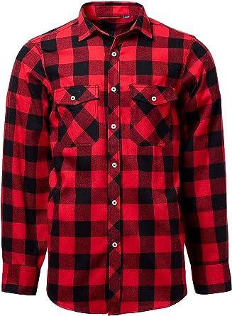 J.VER - Camisa para hombre, corte normal, manga larga, franela, diseño a cuadros Rojo y negro. XXXXXL: Amazon.es: Ropa y accesorios