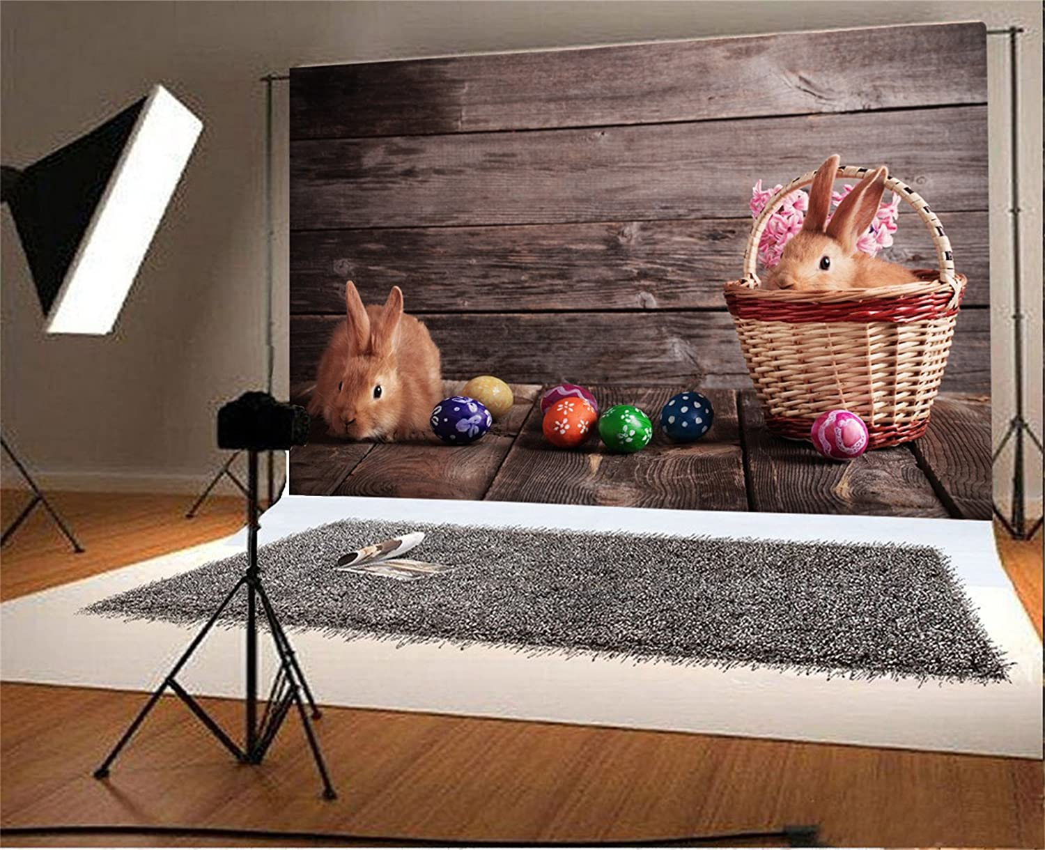 AOFOTO 5x3ft Easter Eggs and Rabbit Background Easter Bunny On Wooden Board Photography Backdrop Vintage Rustic Photo Studio Props Kid Baby Newborn Infant Artistic Portrait Vinyl Wallpaper