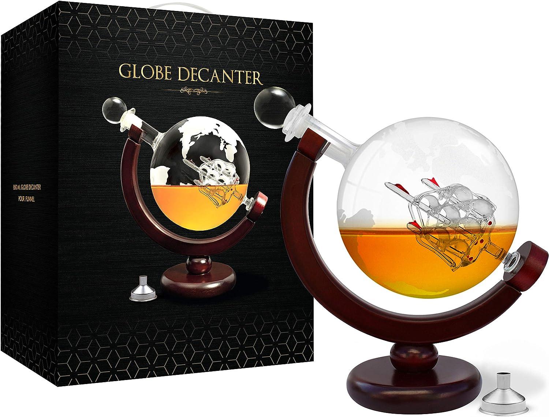 Whiskey Decanter Set World Etched Globe Decanter Antique Ship Glass Stopper Pour Funnel Liquor Dispenser Spirits Scotch Bourbon Vodka Rum Brandy Perfect Gift Liquor Decanters