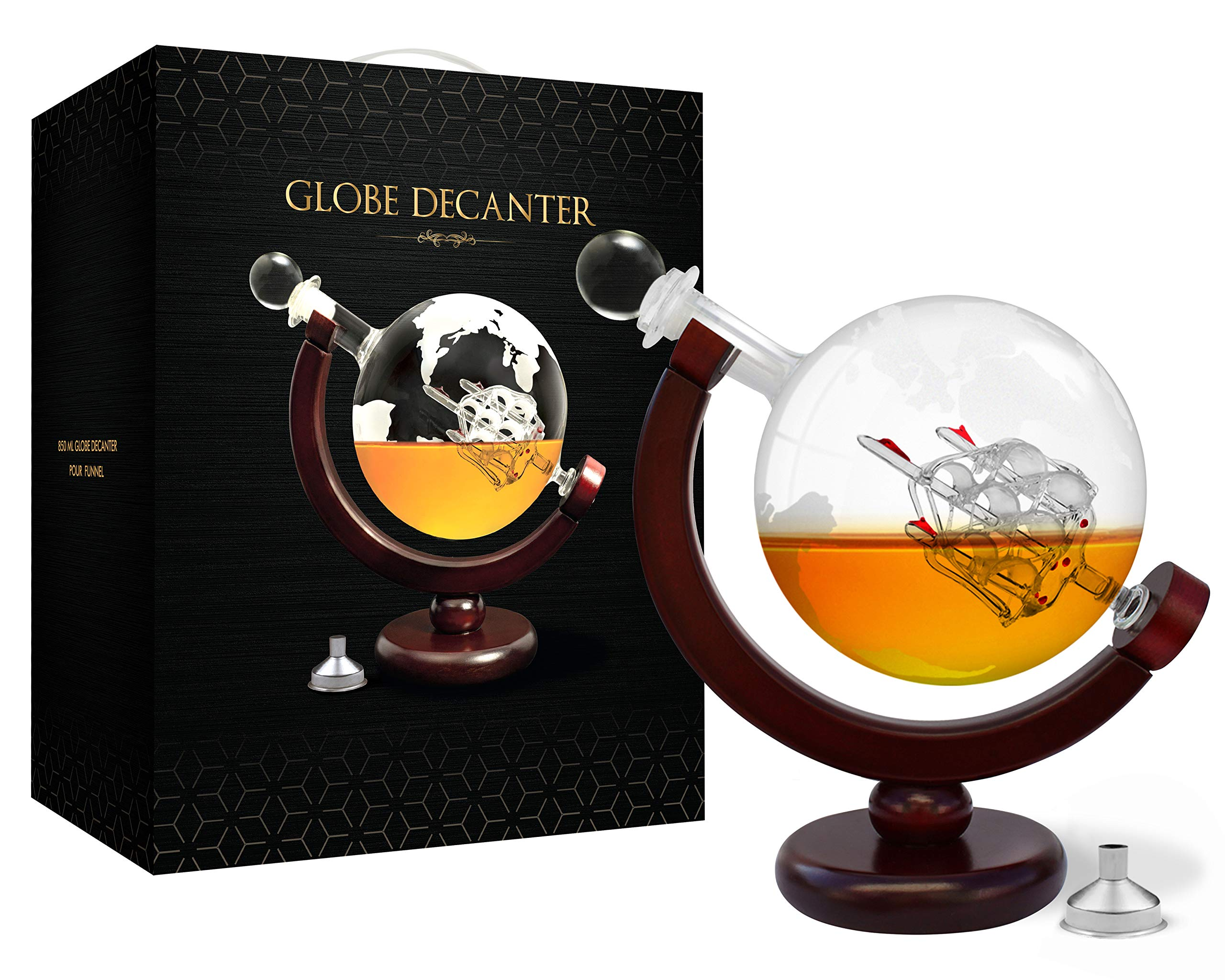 Whiskey Decanter Set World Etched Globe Decanter Antique Ship Glass Stopper Pour Funnel Liquor Dispenser Spirits Scotch Bourbon Vodka Rum Brandy Perfect Gift (Decanter 850 ml with metal funnel) by flybold