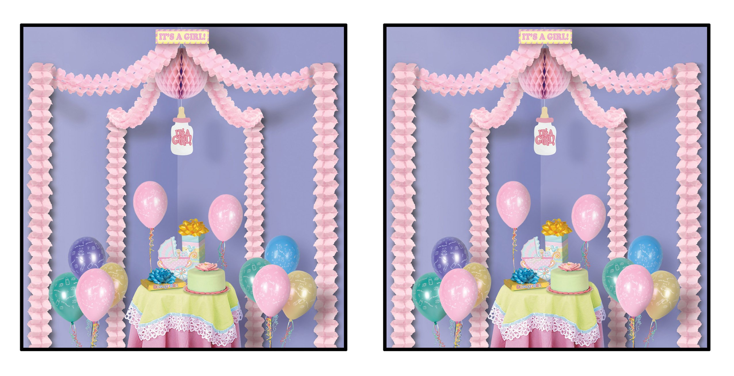 Beistle S54428AZ2 It's a Girl Party Canopy 2 Piece, Pink