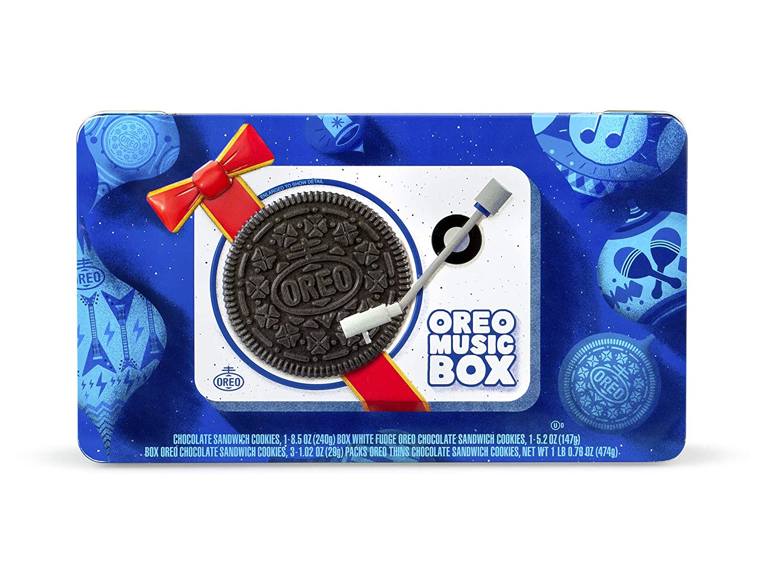Oreo Music Box—Cookie Record Player – Collectible Holiday Gift Tin –  Includes White Fudge Oreo, Regular