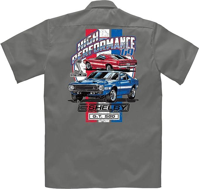 Velocitee Speed Shop A17932 - Camisa de Trabajo para Hombre con Licencia Oficial de Shelby 69 Ford Mustang GT500 Gris Gris XXL: Amazon.es: Ropa y accesorios