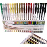 20 Earth Tone Gel Pen Set by OfficeGoods with Refills = 40! Perfect for Your Nature Scenes & Animals – Premium & Vivid Colors in Glitter, Metallic, Neon, Pastels & Classic - Fast Drying Ink!