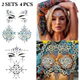 Body Tattoo Sticker, Fascigirl 4 Bohemian Rhinestone Crystal Mermaid Tears Stickers Rave Party Festival Metallic Shiny Gems Glitter Temporary Face Body Tattoos Jewels
