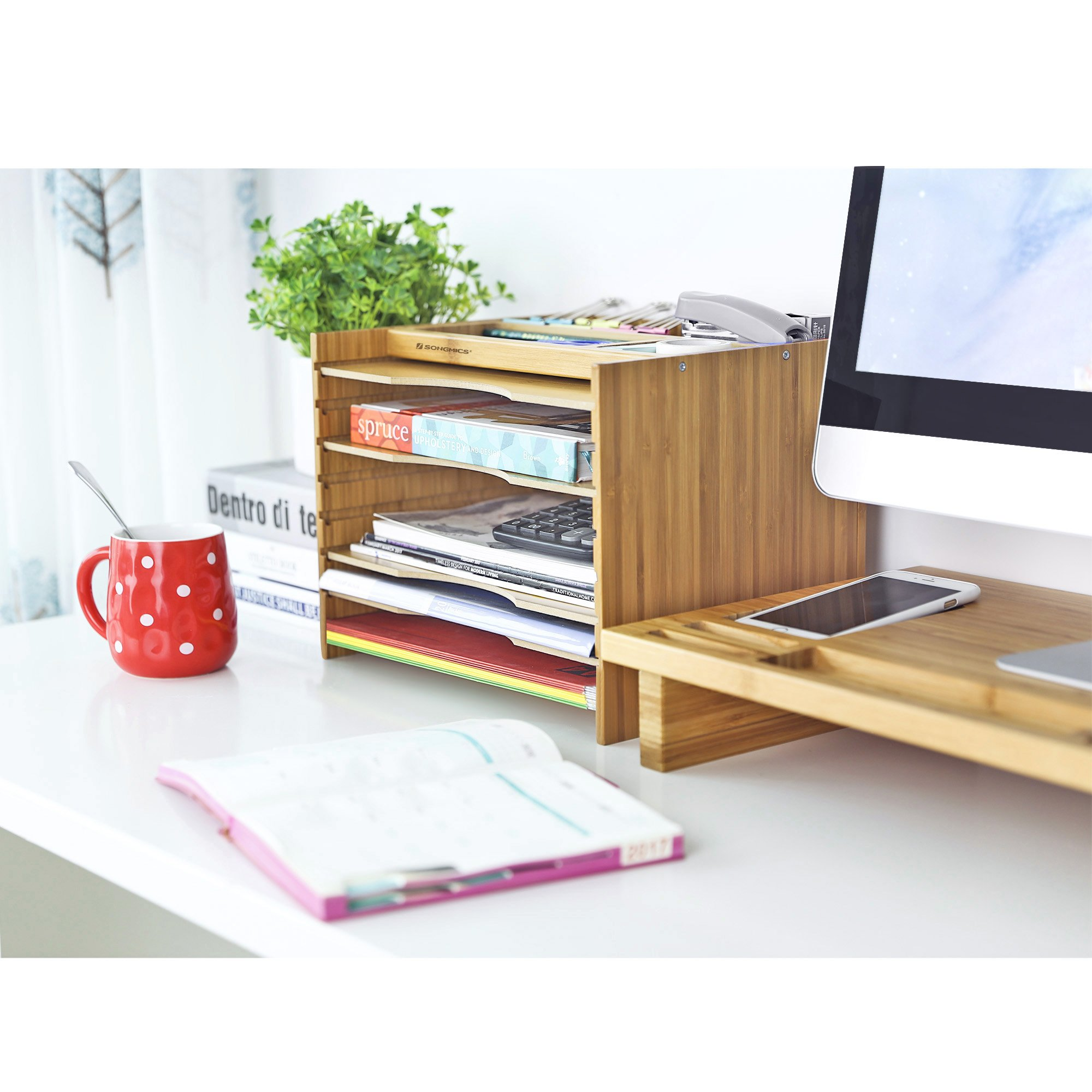 SONGMICS Bamboo File Organizer Paper Sorter with 5 Adjustable Shelves Top Storage Compartments Natural UOFS44Y by SONGMICS (Image #2)