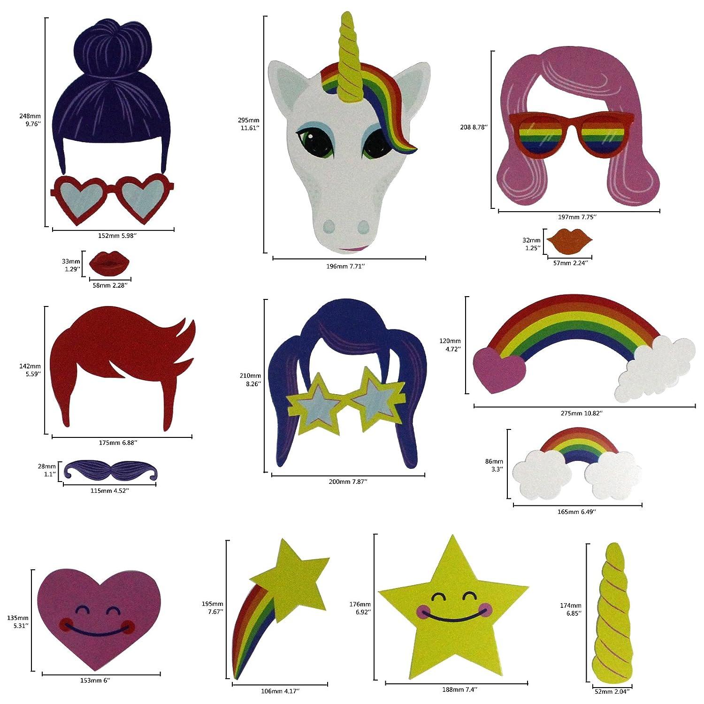18 contar musykrafties Arcoiris unicornio Accesorios Para Cabina de fotos